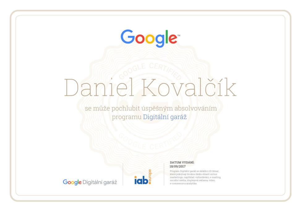 Digitalni garaz - Certifikat