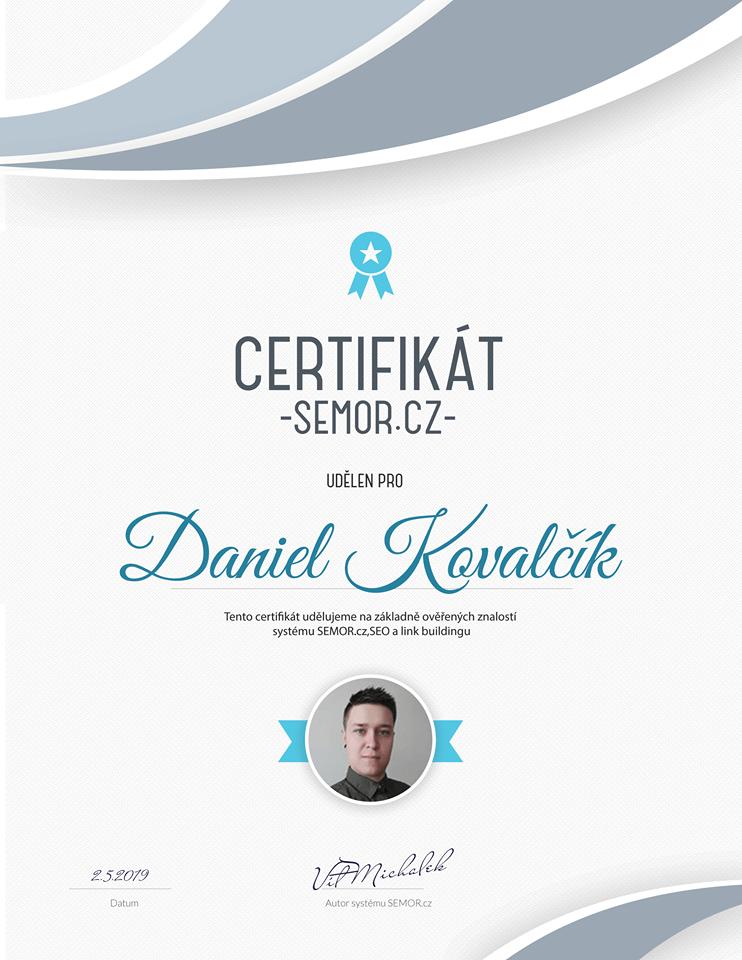 Semor certifikát Daniel Kovalčík