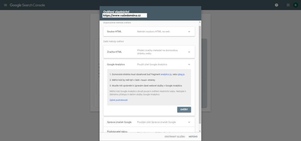 Ověření vlastnictví domény pomocí Google Analytics