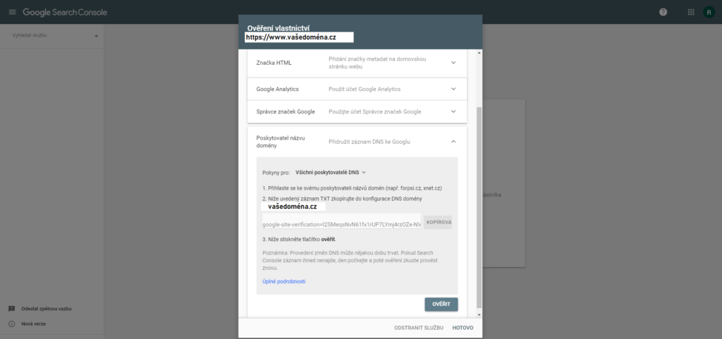 Ověření vlastnictví domény pomocí Poskytovatele názvu domény