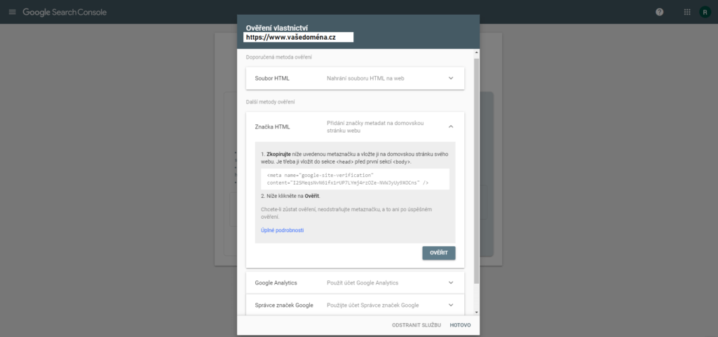 Ověření vlastnictví webu pomocí značky HTML